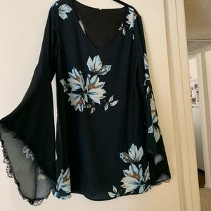 Floral Bell-Sleeve Dress with back cutout